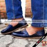 zj00108 Huarache artesanal agujeta piso hombre piel azul mayoreo fabricante calzado zapatos proveedor sandalias taller maquilador