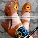 zs00057 Huarache Artesanal Mexicano Hecho mano piel Mujer Zapato plataforma calzado mayoreo fabrica proveedor maquilador fabricante mayorista taller sahuayo michoacan
