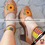zs00057 Plataforma Artesanales Color Café Con Bordado De Tacon Mujer De Piel Sahuayo Michoacan mayoreo fabricante de calzado zapatos taller maquilador (1)