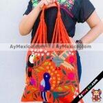 bj00020 Bolsa artesanal bordada a mano anaranjadamayoreo fabricante proveedor taller maquilador (1)