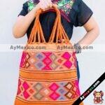 bj00023 Bolsa artesanal bordada a mano anaranjadamayoreo fabricante proveedor taller maquilador (1)