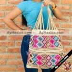 bj00024 bolsa artesanal bordada a mano beige mayoreo fabricante proveedor taller maquilador (1)