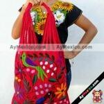 bj00034 Bolsa artesanal bordada a mano rojomayoreo fabricante proveedor taller maquilador (1)