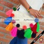 bs00053 Bolsa artesanal de palma con pompones de colores y correa dorada mayoreo fabricante proveedor taller maquilador (1)
