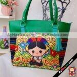 bs00125 Bolsa artesanal con estampado de muñeca Maria color verde inlcuye colgante medida de 43x31cm aproxmayoreo fabricante proveedor taller maquilador (1)