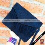 bs00186 Bolsa cartera artesanal bordada con pompones color negromayoreo fabricante proveedor taller maquilador (1)
