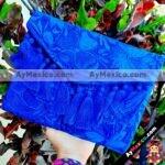 bs00187 Bolsa cartera artesanal bordada con pompones color azulmayoreo fabricante proveedor taller maquilador (1)