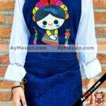 rs00175 Mandil artesanal color azul bordado diseño de Mariamayoreo fabricante proveedor taller maquilador (1) (1)
