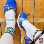 zj00853 Huaraches artesanales color azul tejido multicolor altura de tacon 6 cm aprox de plataforma mujer mayoreo fabricante calzado zapatos proveedor sandalias taller maquilador