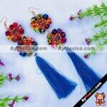 as00090 Lote de 12 piezas aretes artesanales de palma con pompon azulmayoreo fabricante proveedor taller maquilador (1)