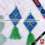 as00107 Lote de 10 pares aretes artesanales bordados a mano de manta color verdemayoreo fabricante proveedor taller maquilador (1)