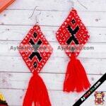 as00109 Lote de 10 pares aretes artesanales bordados a mano de manta color rojomayoreo fabricante proveedor taller maquilador (1)