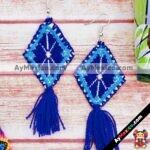 as00110 Lote de 10 pares aretes artesanales bordados a mano de manta color moradomayoreo fabricante proveedor taller maquilador (1)