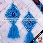 as00111 Lote de 10 pares aretes artesanales bordados a mano de manta color azulmayoreo fabricante proveedor taller maquilador (1)