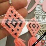as00113 Lote de 10 pares aretes artesanales bordados a mano de manta color rosamayoreo fabricante proveedor taller maquilador (1)