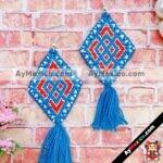 as00116 Lote de 10 pares aretes artesanales bordados a mano de manta color azulmayoreo fabricante proveedor taller maquilador (1)