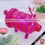 bs00198 Bolsa de cerdito hecha de palma medida de 18×14 cm aprox color fiushamayoreo fabricante proveedor taller maquilador (1)
