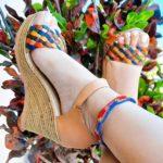 zj00048 Plataforma Artesanales Color Beige Con Tejido Multicolor De Tacon Mujer De Piel Sahuayo Michoacan mayoreo fabricante de calzado zapatos taller maquilador