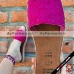 zs00917 Huaraches artesanales trenza color fiusha de piso mujer mayoreo fabricante calzado zapatos proveedor sandalias taller maquilador