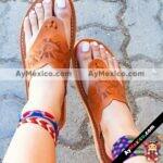 zs00921 Huaraches artesanales tipo pata de gallo con grabado troquel color tan de piso mujer mayoreo fabricante calzado zapatos proveedor sandalias taller maquilador