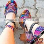 zs00922 Huaraches artesanales diseño de tela estampada altura de tacon 8 cm aprox de plataforma mujer mayoreo fabricante calzado zapatos proveedor sandalias taller maquilador