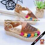 zs00949 Huaraches artesanales color nuez laser con tejido de colores suela dember altura 2cm aprox de piso infantil mayoreo fabricante calzado zapatos proveedor sandalias taller maquilador (2)